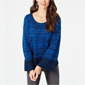 NWT Style & Co Marled Colorblocked Sweater Blue